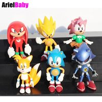 Wholesale Sonic Figures Loose - ArielBaby New 6 PCS JP Anime SEGA Super Sonic The Hedgehog PVC Action Figures Costume Toy Collection Loose Set Amy Tails Knuckles Mephiles B