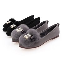 Wholesale Thermal Points - Autumn and winter thermal genuine leather rex rabbit hair wool shoes Moccasins female pointed toe flat plus size single shoes