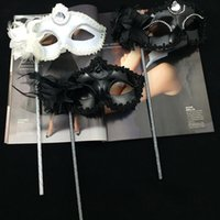 Wholesale Sequin Masks - Luxury Diamond Woman Masks On Stick Sexy Eyeline Party Masks Sequin Lace Edge Lateral Flower Venetian Masquerade Marks
