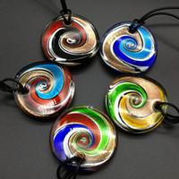 pingentes de vidro murano venda por atacado-2017 maxi colar colar de pingente de venda real colares femininos moda 5 pcs mix 5 cores rodada folha murano lampwork de vidro