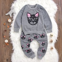 Wholesale Cute Girl Toddler Clothes - 2017 Mikrdoo Baby Cute Girl Clothes Kids Kawayi Grey Outfit Infant Playsuit Cat Printed Toddler Cotton Clothing Set T-shirt Pants Outwear