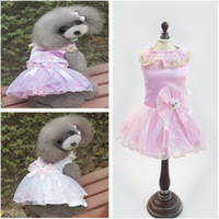 Coats, Jackets & Outerwears Spring/Summer Wedding Fashion Princess Pet Dresses With Flower Lace Good Quality Dog Coat Brand New For Spring Automn Blue Pink Color Min Order 50PCS
