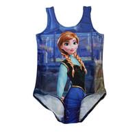 Wholesale Girls 5t Swimsuits - One-Piece Swimsuit Frozen Girls Swim Digital Print Kids Costume Princess 5-10T High Quality Polyester Fiber LG-83-3