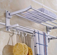 Wholesale Towel Hook Shelf - New Foldable Double Alumimum Towel Bar Set Rack Tower Holder Hanger Bathroom Hotel Shelf with 5 hooks
