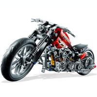 Wholesale Wooden Hot Blocks - HOT 378Pcs Technic Motorcycle Exploiture Model Harley Vehicle Building Bricks Block Set Toy Gift Compatible With Legoe