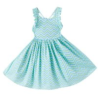 Wholesale Knee Length Chevron Dresses - Little Girl's Spring - Baby Girl's Summer Dress - Floral Girl's Dress - Tie back 2017 chevron Aqua