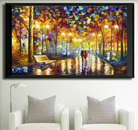Wholesale Rain Light Oil - 2017 new cube drills, living room decorations, paintings, lights, streetscape, walking in the rain, painting   free shipping