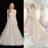 Wholesale Tull Wedding Dresses Sleeves - Jlm Couture 2017 Long Sleeve Wedding Dresses Light Pink Tull A Line Bridal Gowns Lace Applique Sheer Neckline Wedding Dress