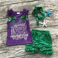 Wholesale Wholesale Cotton Fishing Shirts - Girls Mermaid waveselvedge 3pc set outfits Ribbon bow Sleeveless T shirt Fish scale stringyselvedge pants Headband infants baby outfits