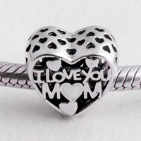 Wholesale Mom Silver Bangle Bracelet - Authentic 925 Sterling Silver Bead Charm Vintage Openwork I Love You Mom Beads Fit Women Pandora Bracelet Bangle DIY Jewelry HK3737
