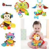 Vente en gros - Baby Rattle Ring Plush Crib Bed Hanging Animal Teether Infant Appease Toy Doll