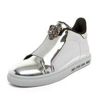 Wholesale Silver Hip Hop Shoes - Sales 2017 New Autumn Luxury Brand Men Shoes PU Leather Skull Hip Hop Men Casual Shoes For Men Black Blue