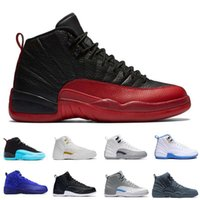Wholesale Pink Canvas Sneakers High - 2017 high quality air retro 12 man Basketball Shoes Gym red OVO white TAXI Flu Game playoffs French blue master Wolf grey Sneakers