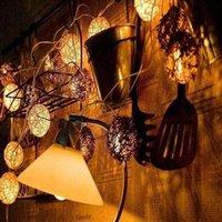 Wholesale Wholesale Funlife - Funlife Wedding Party String Lights 20pcs White Thailand Style Hand Weaved Rattan String Ball Lantern Xmas Bal