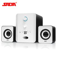 Wholesale wireless laptop computer speakers - Wholesale- SADA Wired 2.1 Bluetooth combination speaker stereo suitable desktop notebook computer speaker PC Laptop TF FM U disk