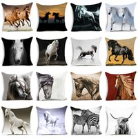 Wholesale Nordic Fabric - Hyha Horses Polyester Cushion Cover Steed Animal War Horses Home Decorative Pillow Cover for Sofa Car Nordic 45x45cm Vintage