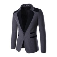 Wholesale Red Dress Coat For Men - Wholesale- Mens blazer jacket 2016 fashion slim fit wedding dress suits for men singe button navy black red wool coat male tuxedos x73