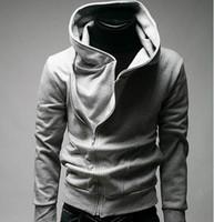 hoodie magro do credo do assassino venda por atacado-Moda Assassin's Creed dos homens Magro oblíqua zipper camisola casaco jaqueta com capuz jaqueta frete grátis