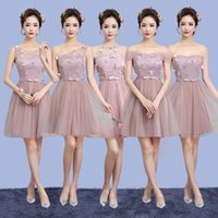 Wholesale Tulle Dresses For Adults - 2018 Blush Pink Champagne Bridesmaid Dresses Country Style Short Formal Dress For Junior And Adult Bridesmaids Wedding Party Dress Under 50