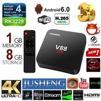 Wholesale JUSHENG New V88 Android TV Box RK3229 Quad Core GB Gb K D KD16 Loaded Add ons WiFi H K i P Smart Media Player