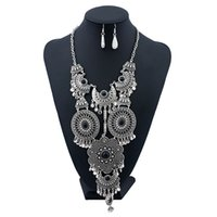 Wholesale Silver Multi Gem Necklace - Ethnic Tassel Jewelry Sets Maxi Circle Black Bohemia Big Gem Multi Layer Silver Plated Hollow Flower Long Necklaces Women Fashion Vintage