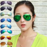 Wholesale White Glass Film - Colorful sunglasses for men sunglasses for women aviator sunglasses driver pendant color film sun glasses 9 selection of colour