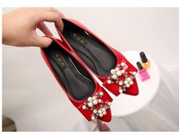 Wholesale Diamond Singles Shoes - Ladle shoes female point small yards flat pearl spring shoes single diamond drill big yards for women's shoes