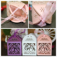 Wholesale Laser Cut Favor Boxes Bird - Laser Cut Unique Design wedding favors holder boxes Hollow Out Personality Love Birds Ribbon party candy bags gifts box wedding accessories