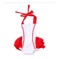 Wholesale Short Overalls For Baby Girls - White Baseball Overalls For Girl Soft Toddle Cotton Boutique Baby Clothing Shorts For Kid Baby Children