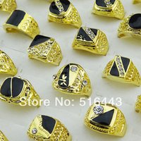 10pcs Hot Selling Cool Mix Style Rhinestones checos Black Enamel Gold Plated Fashion Mens Rings Wholesale Jóias Lotes A-048