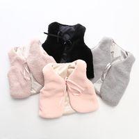 Wholesale Waistcoat Collar For Girl - 2017 Autumn Winter Baby Sleeveless Faux Fur Vest Baby Girl Warm Cotton Waistcoat Fur Vest Outwear Coat For Baby Clothing MC1148