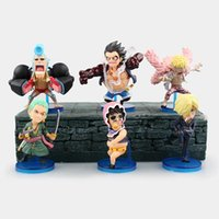 tek parça oyuncak koleksiyonu seti toptan satış-Anime One Piece 6 adet / takım Luffy Zoro Sanji Doflamingo Franky Senor Pembe PVC Rakamlar Brinquedos Koleksiyon Oyuncaklar Modeli