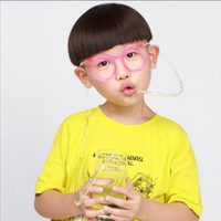 Wholesale funny drinking glasses - Sunglasses Drinking Straw Funny Kids Colorful Soft Glasses DIY Straw Unique Flexible Drinking Sunglasses Tube Kids Party Gift