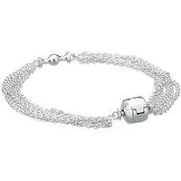 Wholesale Sterling Silver Bead Strands - Authenetic 925 Sterling Silver Bracelet Multi-Strand One Clip Station Snake Chain Bracelet Bangle Fit Bead Charm DIY Jewelry HKA9057