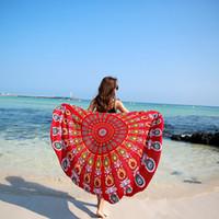 Wholesale Multi Purpose Dress - Retro Women Fashion Dress Shawls Chiffon Round Wraps Dress Colorful Towel Beach Cover Ups Swimsuit Radiate Design Multi Purpose Lady Cloth