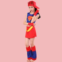 Wholesale Costume Dance Kids Christmas - Hot sale Children Cosplay Costumes Kids Clothing Set Children Superman Masquerade Party Clothes Children's Dance Costume free shopping