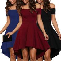 Wholesale Tuxedo Club Dresses - Fashion Women Elegant Dress Off Shoulder Evening Party Mini Dress 2017 Summer Autumn Lady's Tuxedo Dress Europe United States Plus Size