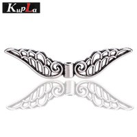 Wholesale Metal Charm Pins - Angel Wings Beads for Jewelry Making DIY Metal Wings Beads Charms Trendy Vintage Crimp & End Beads 20pcs lot 14*52mm C5502