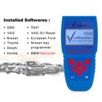 Wholesale Transmission Scan Tools - V-checker V500 Auto Code Reader EOBD OBD2 Scanner Scan Tool Testing Engine Transmission ABS Airbag System