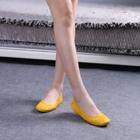 Wholesale Genuine Leather Ballerina Shoes - 2017 Hot Fashion Women's Shoes Flats Comfortable Genuine Leather Bridal Shoes Ballerina Ballet Flats Foldable Flats Pregnant Shoes