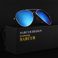 Wholesale hd coat - BARCUR Brand Real HD R Driving Sunglasses Men Women Stainless Steel Colorful Reflective Coating Lens Aviator Sunglasses