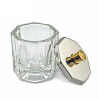 nagelkunst glas dappen teller großhandel-Mini Octagon Glas Kleine Kristallglas Winzige Tasse zum Mischen von Acryl Flüssigkeit Acryl Pulver Dappen Dish für Acryl Nail Art Tool ZA2795