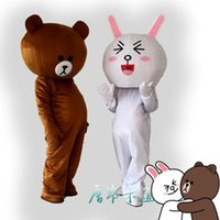 Wholesale Bear Fancy Dress Costumes - 100%as the picture, Professional Brown Bear and Rabbit School Mascot Costume Halloween Costumes Cartoon Fancy Dress EPE Adult Size