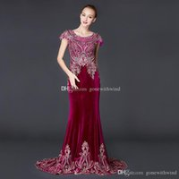 Wholesale Eveing Dress Black - real photos Arab Dubai red velvet evening dresses 2018 cape sleeves heavily embroidery crystals beaded scoop neckline eveing gowns