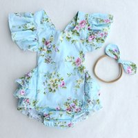 Wholesale Summer Two Piece Lace Set - 2017 Ins Baby Girl Print Flower Rompers Cute Floral Lace Jumpsuits Hollow back + Headband Two Piece Set Toddler Soft Cotton BLUE Bodysuits