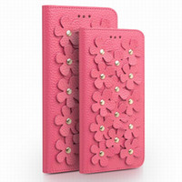 Wholesale Iphone Case Cherry Blossom - Nice Cherry Blossom Women Leather Case for iPhone6S plus 5.5inch,ladies fashion flip cover for iPhone6 6S 4.7inch with card holder