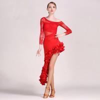 spandex fringe tanzkleid großhandel-3 farben spitze frauen latin dress latina dance dress samba salsa dress fransen latin dance kostüme für frauen sexy tango kleider