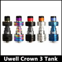 Wholesale Triple Crown - Uwell Crown 3 Sub-Ohm Tank 5ml Crown III Top Fill Design with Twist Off Cap Atomizer Triple Airflow Slots Quartz Glass Tank