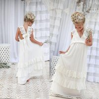Wholesale Romantic Chiffon Dresses - Romantic 2016 New Arrival Boho Flower Girl Dresses For Weddings Cheap V Neck Chiffon Lace Tiered Formal Wedding Dress Custom Made