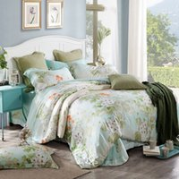 Wholesale King Size Peacock Bedding - Wholesale- 100% luxury tencel silk satin bedding sets peacock butterfly flower leaf duvet cover set bamboo fiber bed linen king queen size